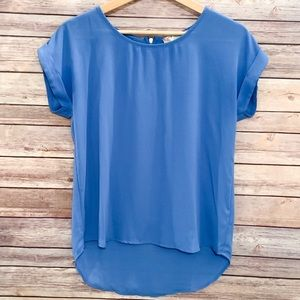 Pink Rose Short-Sleeved Royal Blue Blouse